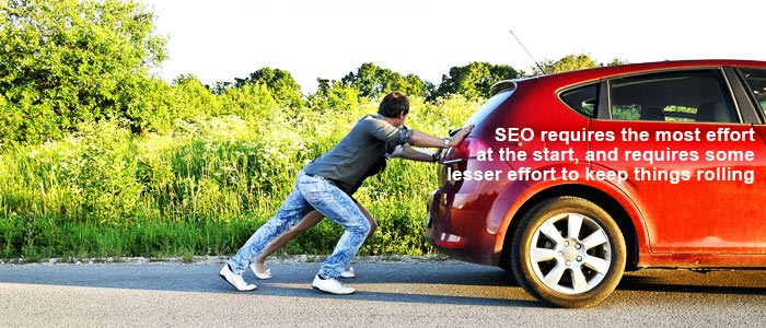 seo is like pushing a car in neutral
