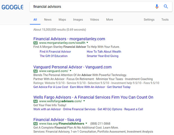 google advertising now has four ads on top