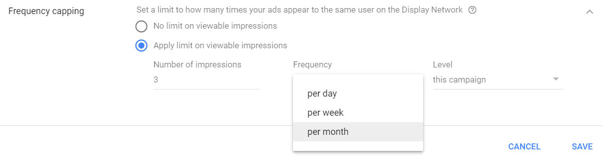 controlling frequency with google ads