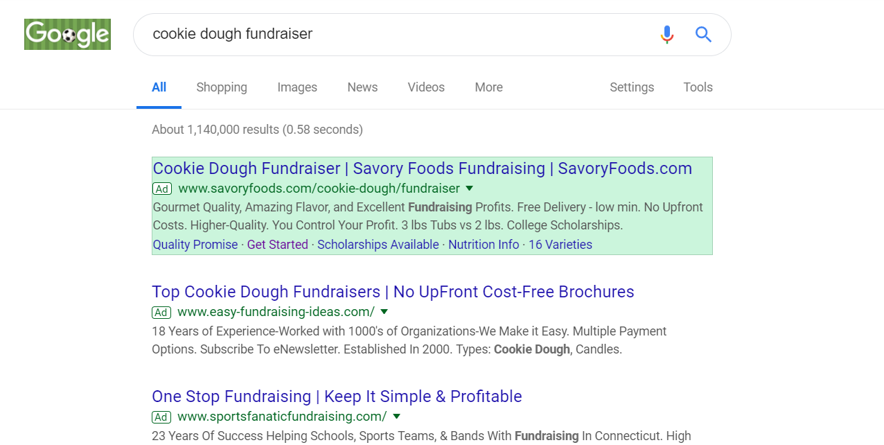 screenshot showing Google Ad results for Savory Foods