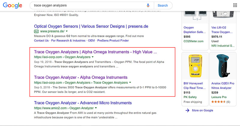 search results of a SEO campaign